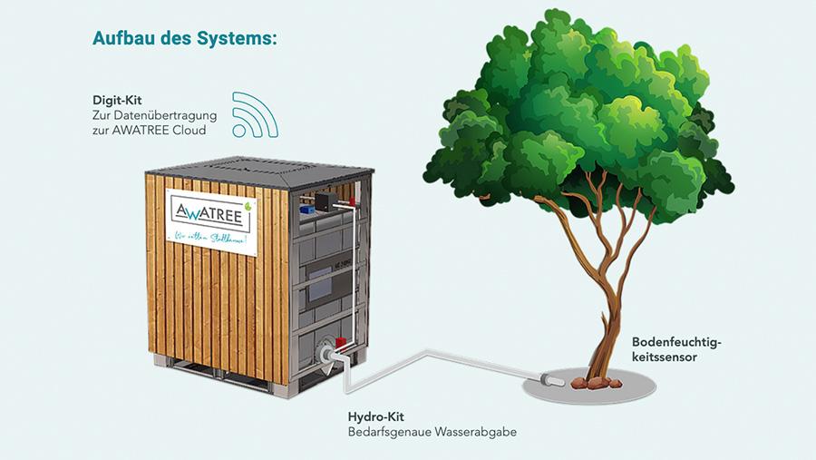 Bodenfeuchtigkeitssensor misst mit AWATREE den Wasserbedarf der Bäume in der Stadt