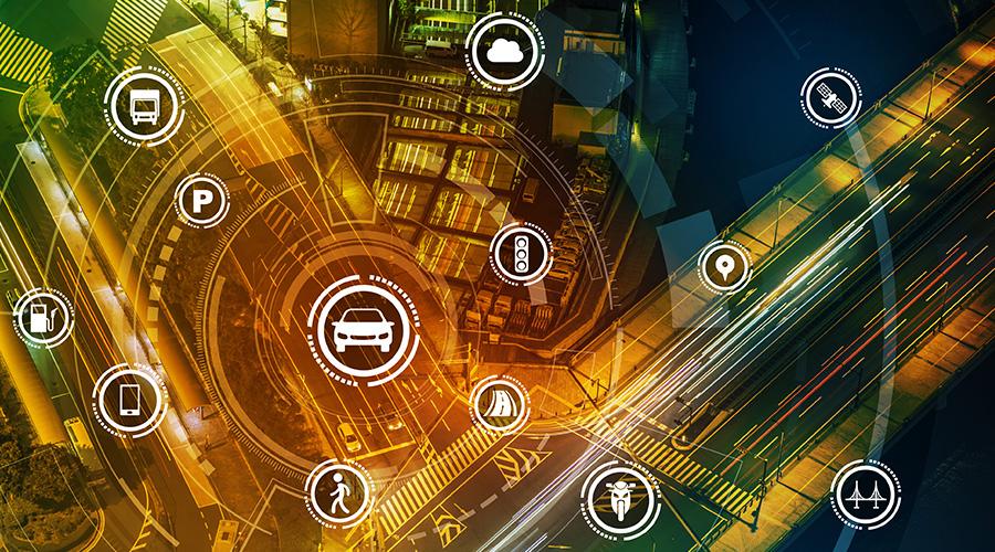 Zur Kategorie:Zentrale Open Data Plattform. Bildmotiv: Straßenkreuzung mit grafischen Symbolen.